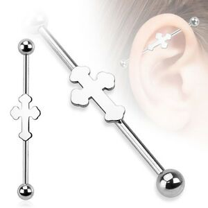 """GOTHIC CELTIC CROSS  INDUSTRIAL BARBELL 14G 1&1/2"""" Surgical Stainless Steel 38MM"""