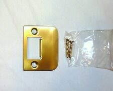 "(1) Decorlux 004 2-1/4"" Brass Full Lip Door Strike Plate w/ 2 Screws SATIN BRASS"