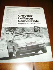 1988 CHRYSLER LEBARON CONVERTIBLE ***ORIGINAL  ARTICLE / ROAD TEST***