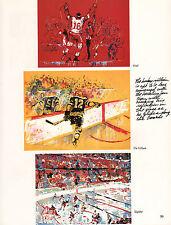 "LEROY NEIMAN FULL PAGE OF ICE HOCKEY PRINTS ""GOAL"" ""THE VILLAIN"" ""SLAPSHOT"""