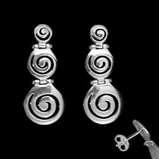 Greek Silver Earrings - Swirl Motif Links (37mm)