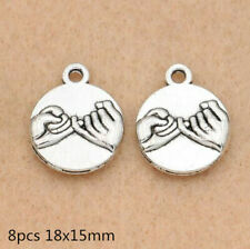 8pcs antique silver, Promise, hand Charm for Jewelry Making Best Friend 14mm
