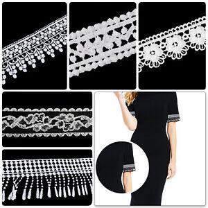 White Quality Cotton Lace Trim Ribbon Vintage Crochet for Bridal Dress Curtain