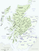 Scottish Clan Map showing the Districts of the Highland Clans of Scotland Poster