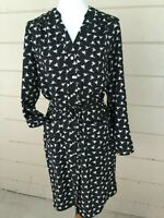 Spense Womens Black Dress Bird Print Elastic Waist Tab Sleeves Pockets Size 8