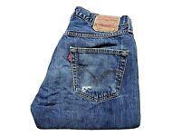 "LEVIS 501 Jeans Distressed Straight Blue Denim SIZE W32 L34 Waist 32"" Leg 34"""
