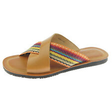 """Alex D """"Malibu"""" Men's Leather Slide Sandals, Made in Italy, Tan"""