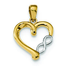 14K Two Tone Gold Infinity Heart Charm Pendant MSRP $184