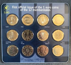 1st Official Issue of €1 Euro Coins 12 Members States Collection Uncirculated