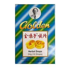 Golden Herbal Drops 12 pk Cough and Sore Throat Relief Tablet (Jin Sang Zi)