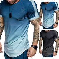Men's Short Sleeve Gradient T-shirt Summer Casual Crew Neck Blouse Slim Fit Tops