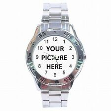 Stainless Steel Mens Analogue Watch Custom Personalized YOUR PICTURE PHOTO