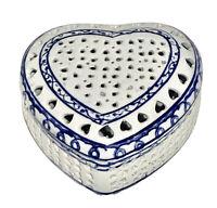 "Blue & White Pierced (Filigree) Ceramic Heart Shaped Trinket Box 4.5"" w x 2.5"" H"