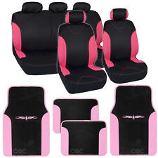 Pink on Flat Black Cloth Car Seat Covers - Accent Design w/ Floor Mats SUV Car