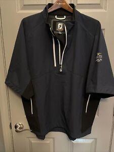 Footjoy Mens Dryjoys Tour Xp 1/4 Zip Pullover Jacket Sleeve Logo  Blue XL Golf