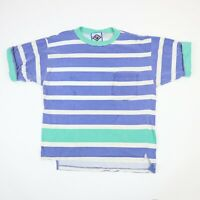 Vtg 90s Santana Bold Striped T-Shirt Oversized M Drape Grunge Beach Faded Surf