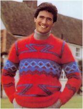 Man's Multicoloured Geometric Intarsia Mohair Sweater Knitting Pattern