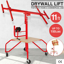 11ft Drywall Lift Panel Hoist Jack Lifter Lockable Rolling Tools With Footboard