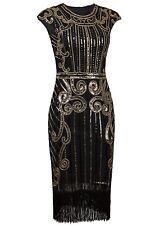 Vestido Inspirado En Los Años 1920s Con Lentejuelas Y Flecos Talla Grande Negro