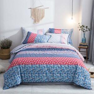 Hibertex 100% Cotton Floral Quilt Cover Set Bedding Queen King Doona Cover Set