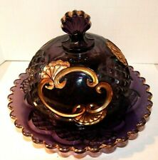 1897 ANTIQUE EAPG AMETHYST/GOLD CROESUS DOMED BUTTER DISH RIVERSIDE GLASS