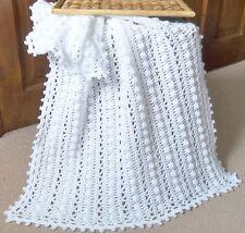 Handmade crochet DK White Lacy Bobbles Baby Blanket 33in X 23in approx