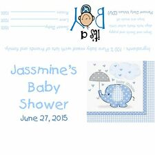 Blue Elephants Baby Shower Candy Bar Wrappers/Party Favors - Baby Boy