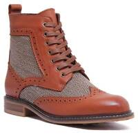 Justin Reece Womens Leather Brogue Ankle Boots In Brown Tweed Sizes UK 3 - 8
