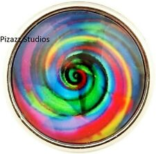 Multi Color 18mm Tie Dye Swirl Snap Charm Interchangeable Chunk Jewelry 7-5