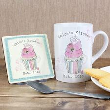 Cadeau Personnalisé Cupcake Thé Tasse Mug coaster set fête des mères idée cadeau d'anniversaire