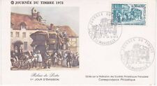 Enveloppe maximum 1er jour FDC 1973 Journée du timbre Relais de Poste