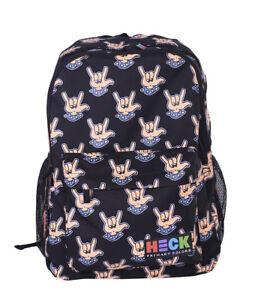 """Ed Heck Rock Hands Black 19"""" Backpack Laptop School Bag"""
