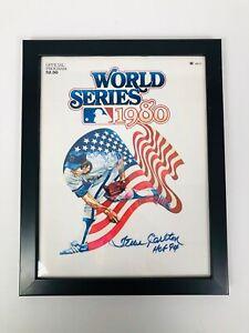 STEVE CARLTON PHILADELPHIA PHILLIES 1980 WORLD SERIES SIGNED FRAMED PROGRAM COA