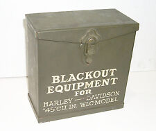 NOS WW2 Surplus Metal Storage BOX for Black Out Gear - Harley 45 Solo WLA WLC