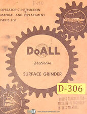 Doall D-8 and D-10, Surface Grinder, Operation and Replacement Parts Manual 1962