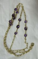 Vintage Gold Tone Small Purple Crystals Necklace