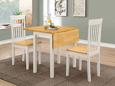 Dining Kitchen Table Set Two Drop Leaf Folding Two Chairs Oak Top White Frame