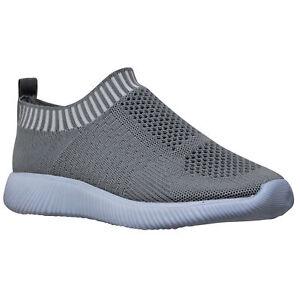 Women's Lightweight Fashion Sneakers Walking Running Shoes Striped Cuff Gray