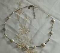 Natural coin pearl NECKLACE , chain, Alexa's angel sterling silver 925 9.6g