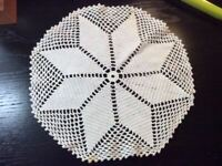 Vintage Doilie Hand Made Doily Crochet Table Lace Dresser Scarf Staging 0310