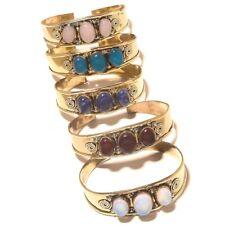 Chalcedony Tibetan Silver Brass Free Postage Cuff Handmade Gemstone Jewelry 5Pcs