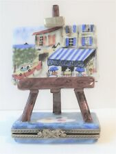 Limoges France Trinket Box Peint Main Painting on Easel w/Palette & Brush Signed
