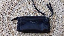 porte monnaie pochette zadig et voltaire femme noir cuir tissu ailes d'ange rock