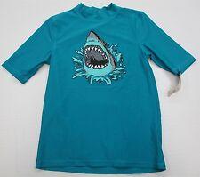 new CIRCO #T2911 Boys Youth Size L UPF50 Swimwear Bright Blue Shark Rash Guard