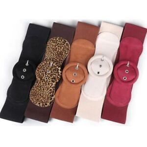 Women's fashion dress suede elastic stretch wide Girdle Buckle waist Belt