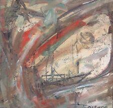 François OZENDA 1923-1976.Composition abstraite.Gouache/carton.SBD.20x20.Cadre.