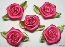 100 Hot Pink Satin Ribbon Rose with Leaf Appliques - Trim R001