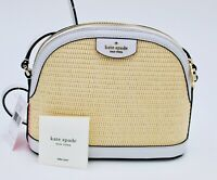KATE SPADE SYLVIA WICKER STRAW X-LARGE DOME CROSSBODY BAG WHITE $229