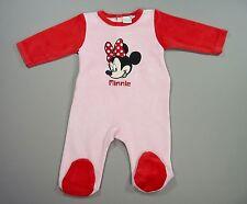 Dors-bien pyjama grenouillère velours rose et rouge Disney Minnie 3 mois fille