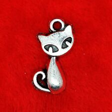 6 x Tibetan Silver Cute Cat Charm Pendant Jewelry Making Craft